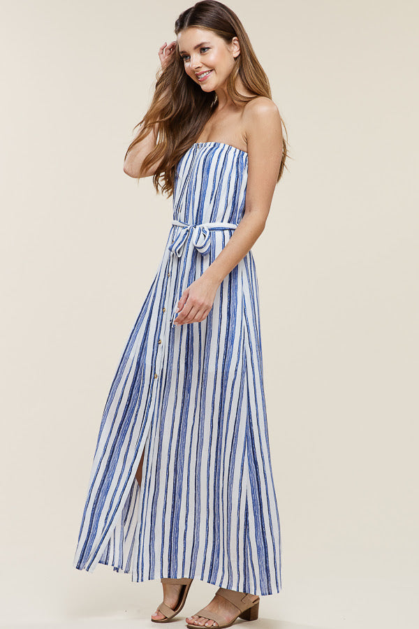 Strapless Striped Maxi Dress - Online Clothing Boutique