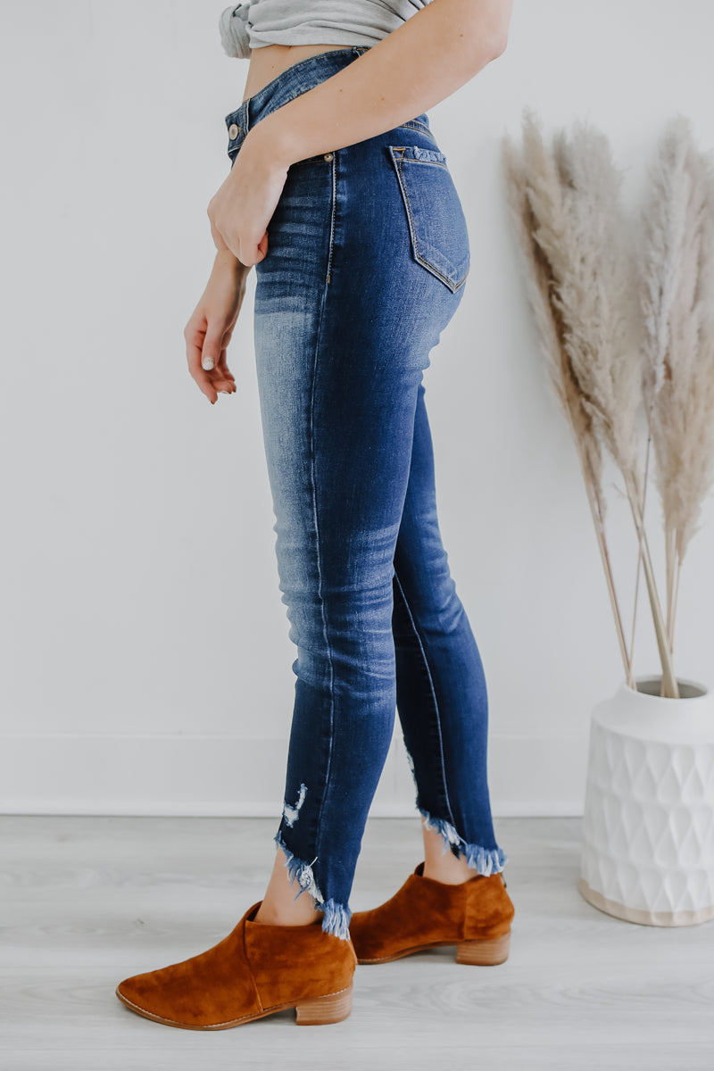 High Rise Distressed Skinny Denim | Stylish & Affordable | UOI Online