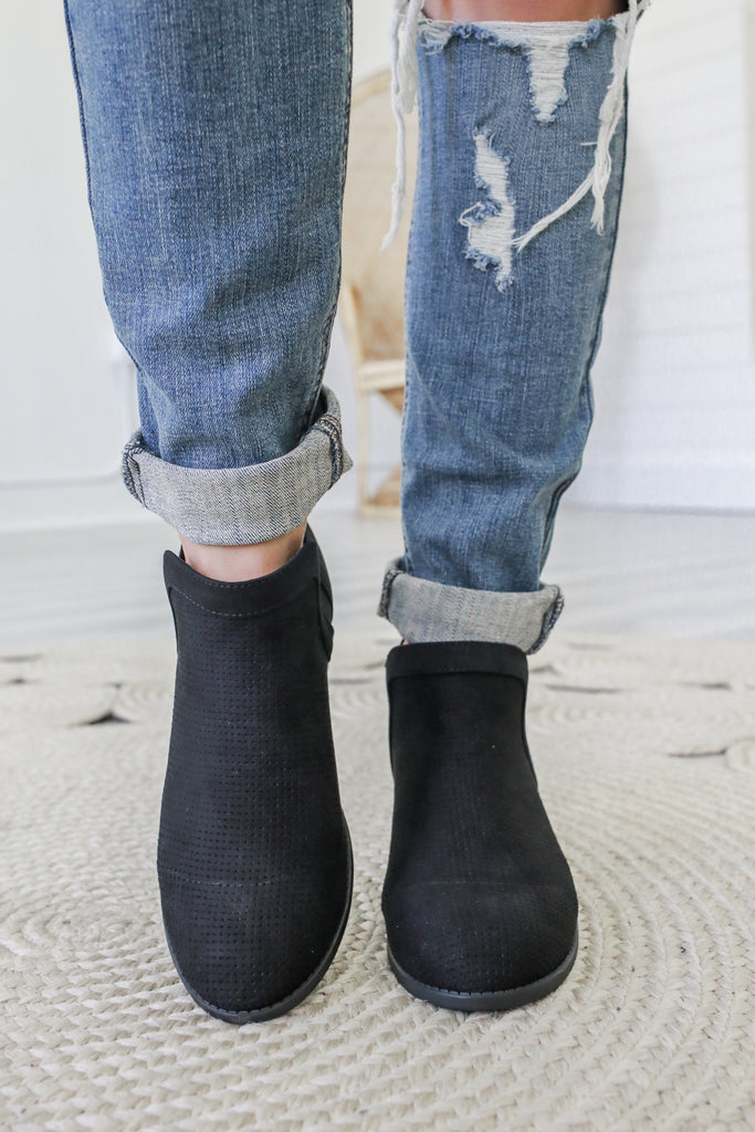 DEVOTE Faux Suede Ankle Booties - Online Clothing Boutique