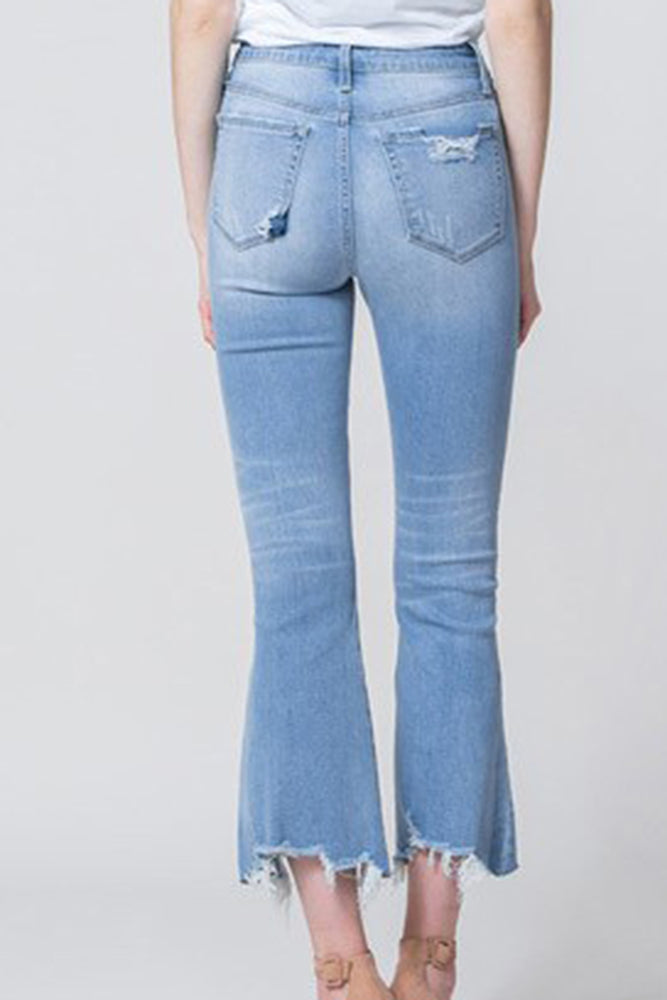 High Rise Cropped Flare Distressed Denim - Online Clothing Boutique