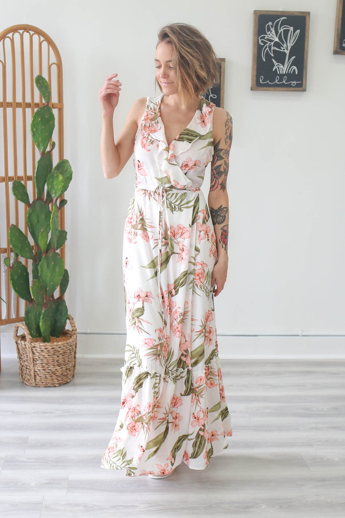 Ruffle Floral Print Maxi Dress - Online Clothing Boutique