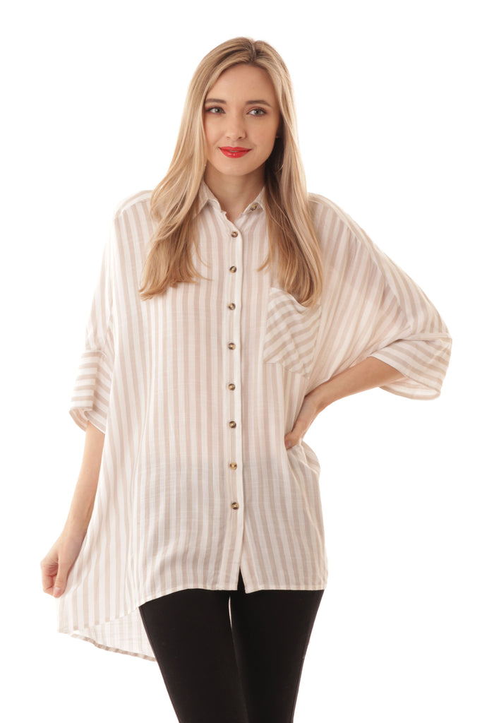 Striped Button Up Tunic - Online Clothing Boutique