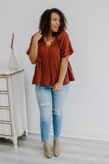 Short Sleeve Crinkle Baby-Doll Top | Stylish & Affordable | UOI Online