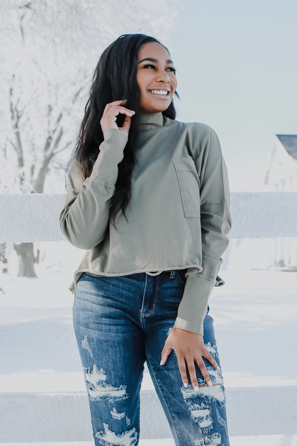 Long Sleeve Mock Neck Boxy Cropped Top | Stylish & Affordable | UOI Online