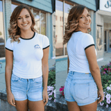 Short Sleeve Crew Neck Embroidered Crop Top