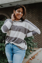 Long Dolman Sleeve Striped Top  Stylish & Affordable | UOI Online