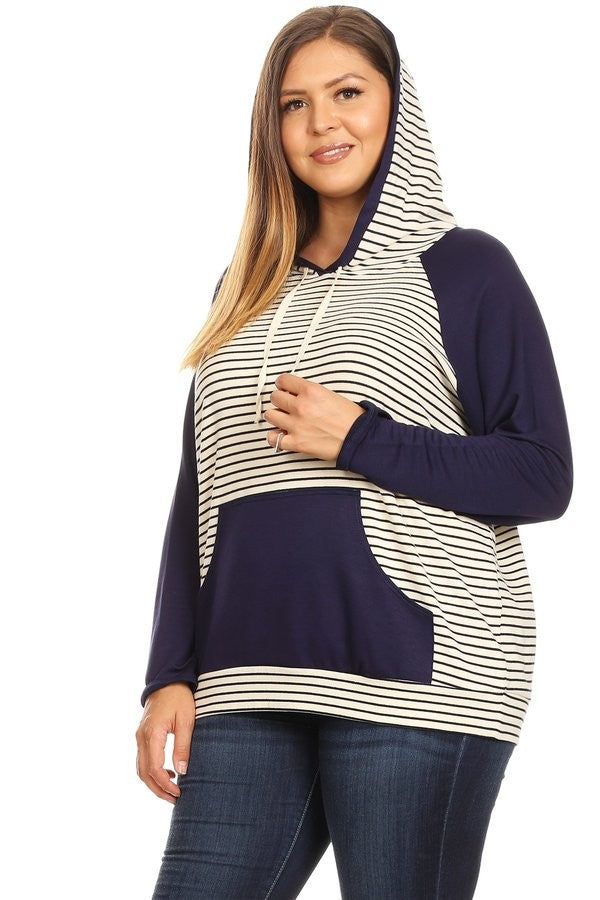 Plus Size Striped Sweatshirt | Stylish & Affordable | UOI Online