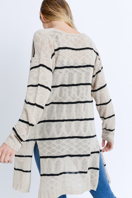 Striped Knit Cardigan - Online Clothing Boutique