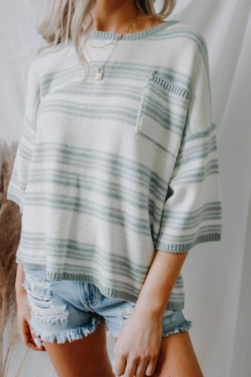 Short Sleeve Striped Knit Sweater | Stylish & Affordable | UOI Online