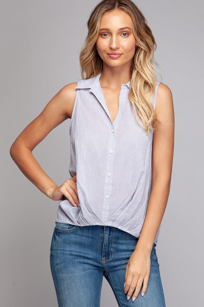 Striped Collared Top - Online Clothing Boutique