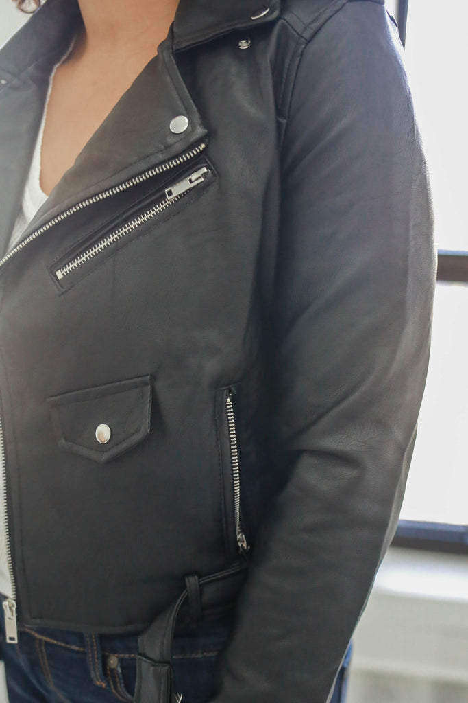 Faux Leather Moto Jacket - Online Clothing Boutique