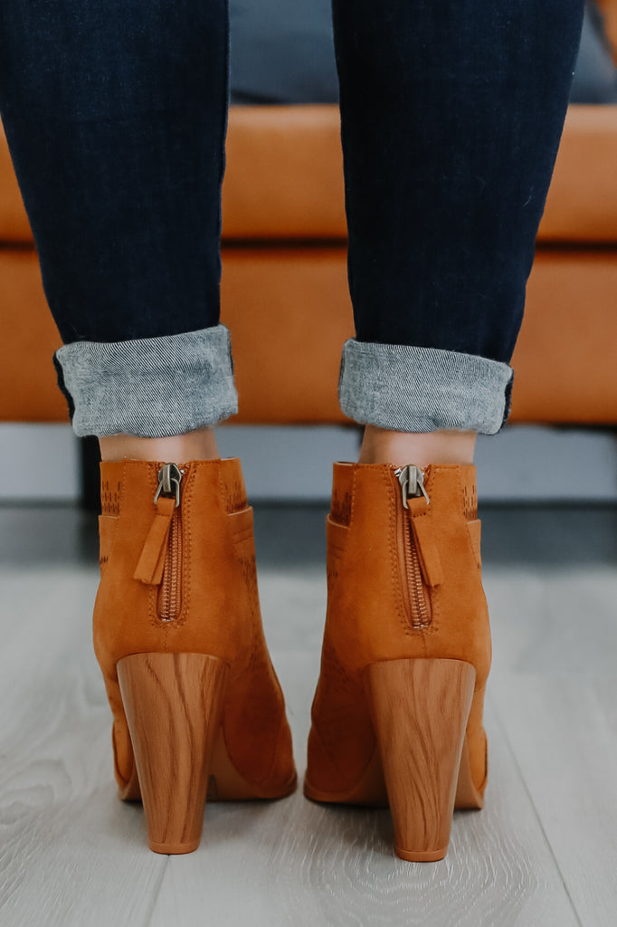 Faux Suede Perforated Ankle Booties | Stylish & Affordable | UOI Online