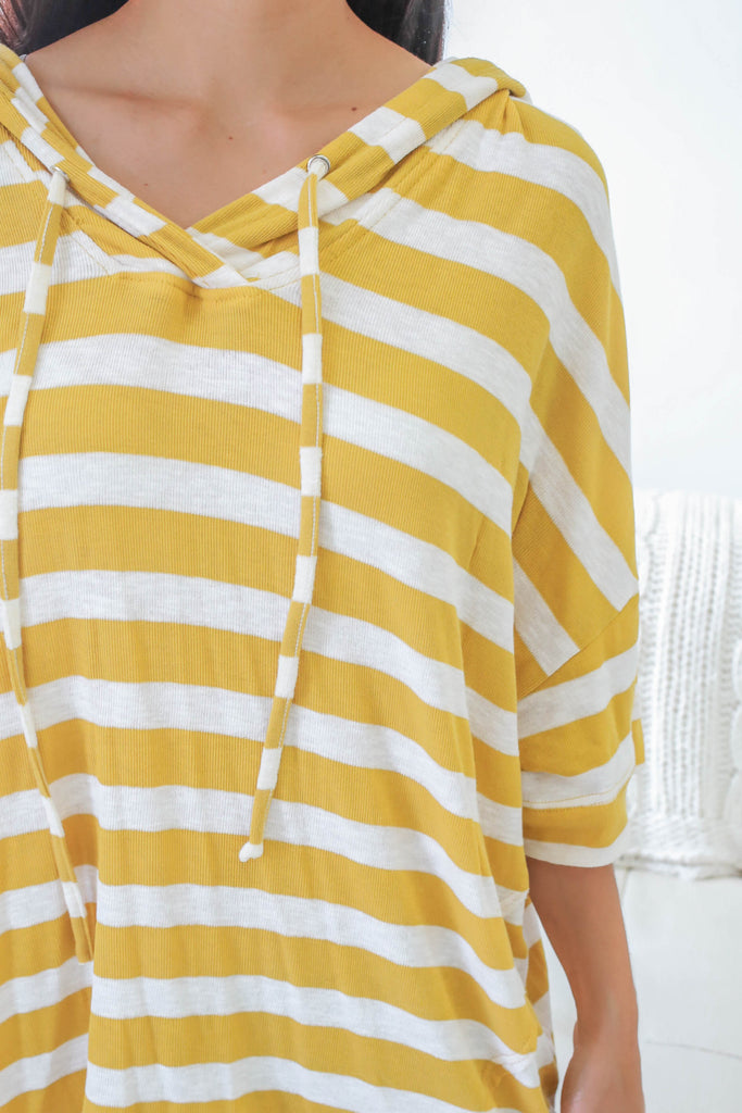 Striped Hooded Short Sleeve Top - Online Clothing Boutique