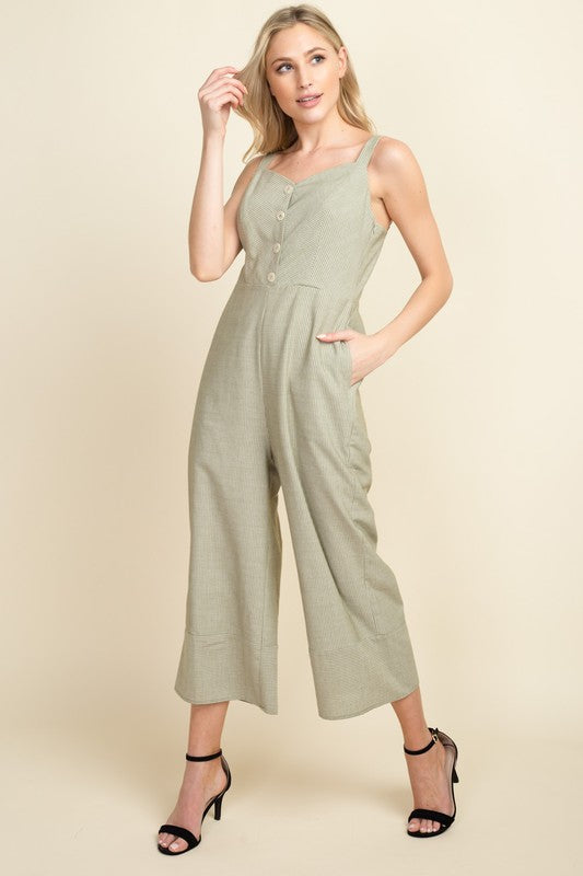 Striped Cropped Jumpsuit - Online Clothing Boutique