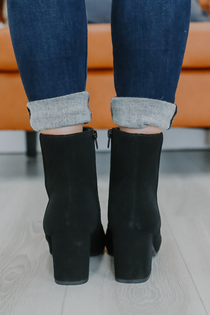 Nubuck Square Toe Booties | Stylish & Affordable | UOI Online