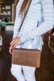 Taupe Perforated Whipstitch Faux Leather Purse