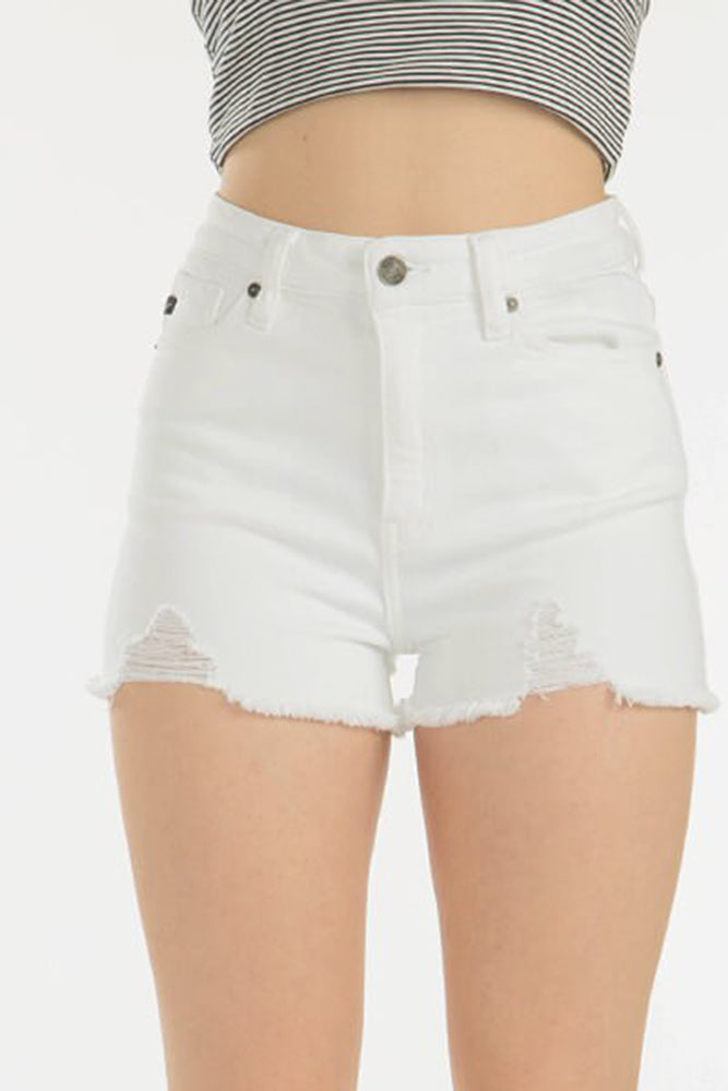White Distressed Denim Shorts - Online Clothing Boutique