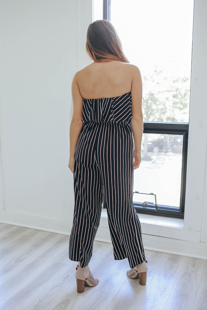 Striped Strapless Jumpsuit - Online Clothing Boutique