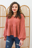 Waffle Knit Peplum Top | Stylish & Affordable | UOI Online
