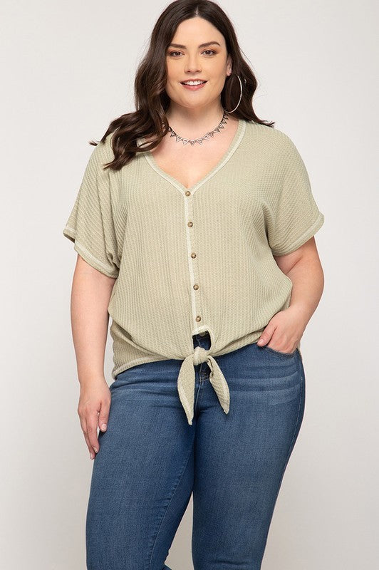 Plus Size Thermal Knit Top - Online Clothing Boutique