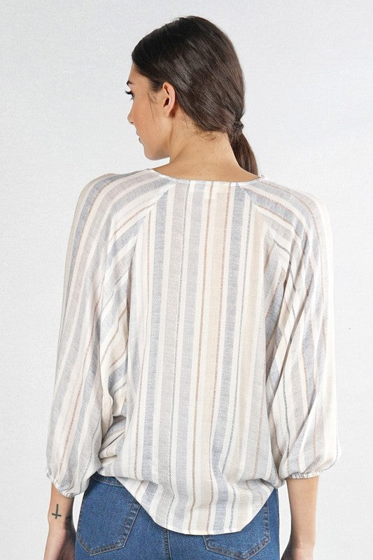 Striped Surplice Top - Online Clothing Boutique