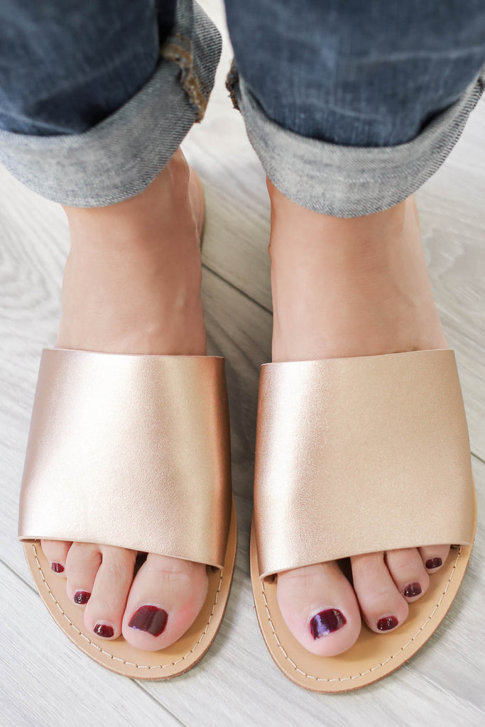 TEZZA Metallic Slide Sandals - Online Clothing Boutique
