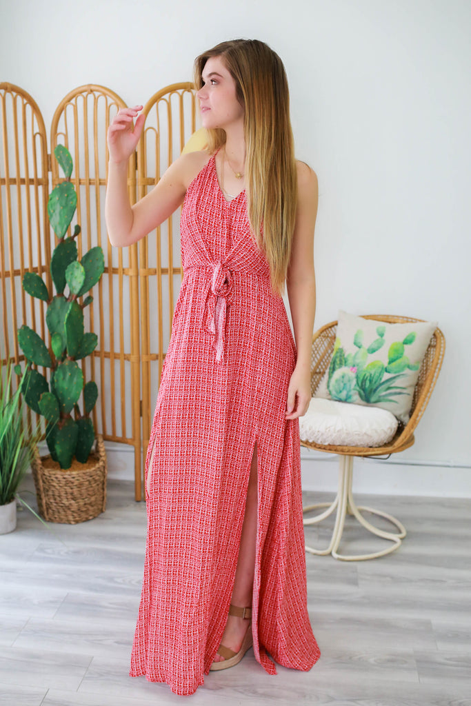 V-Neck Print Maxi Dress - Online Clothing Boutique