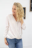 Striped Button Front Top - Online Clothing Boutique