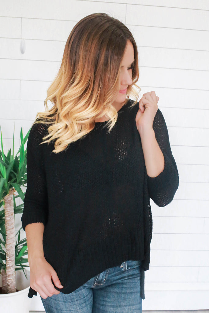 3/4 Sleeve Sweater - Online Clothing Boutique