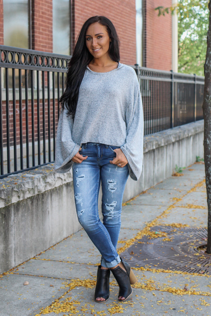 Grey Wide Sleeve Hooded Crop Top - Online Clothing Boutique