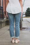 Medium Wash Mid Rise Relaxed Skinny Cropped Denim