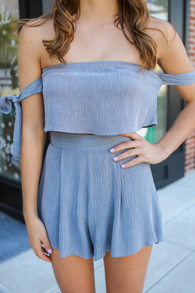 Off the Shoulder High Waist Two-Piece Romper
