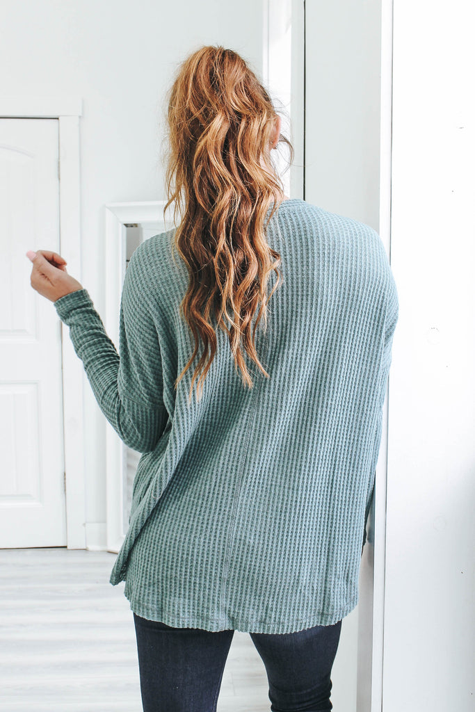 Waffle Knit Top - Online Clothing Boutique