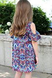 Navy Paisley Little Girl Dress