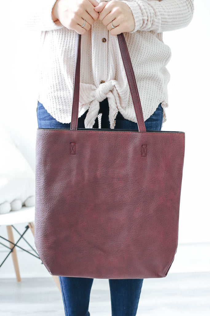 Faux Leather Tote - Online Clothing Boutique
