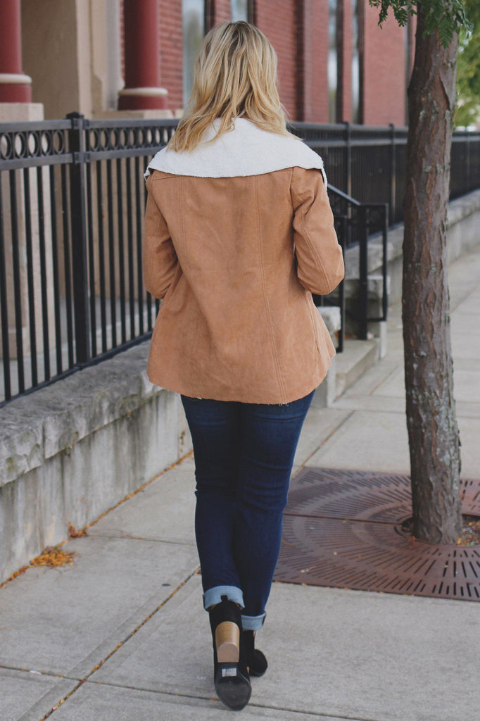 Tan Long Sleeve Faux Shearling Open Front Jacket