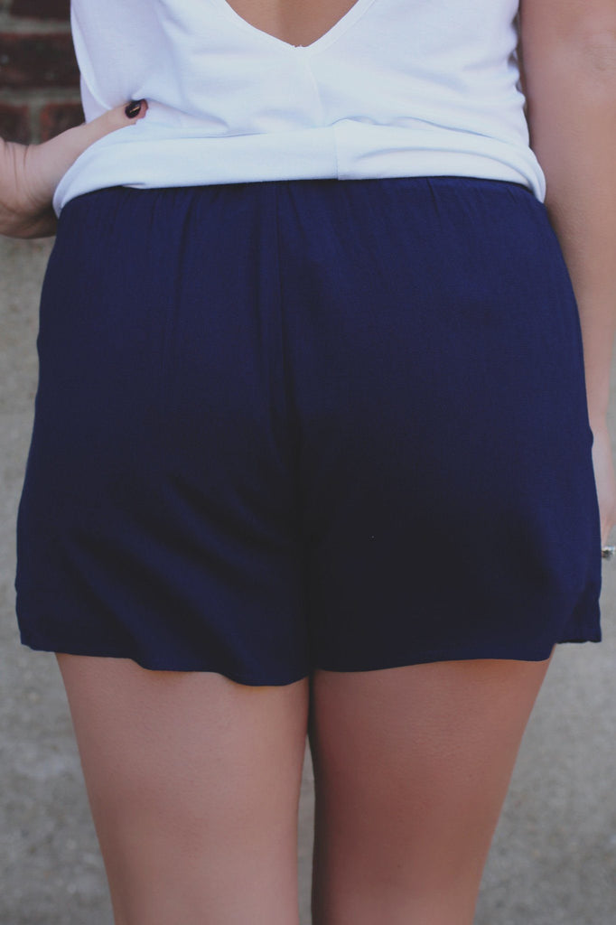 Navy Elastic Waist Self Tie Coral Embroidered Shorts
