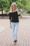 Off the Shoulder Half Sleeve Jersey Knit Top