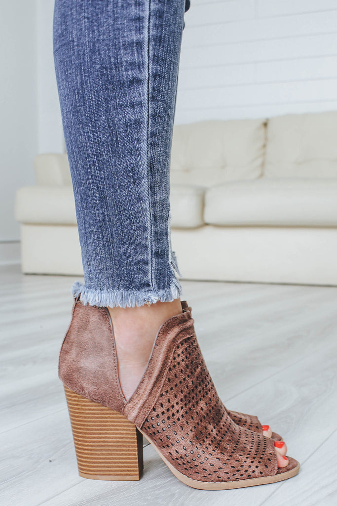 BARNES-226A Peep-Toe Booties - Online Clothing Boutique