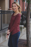 Marsala Long Sleeve Round Hem Round Neck Top