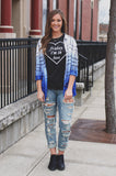 Dip Dyed Ombre Plaid Long Sleeve Button Down Top
