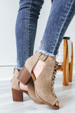 ARAN-S Peep-Toe Ankle Booties - Online Clothing Boutique