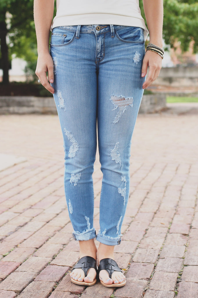 Medium Wash Distressed Low Rise Skinny Denim