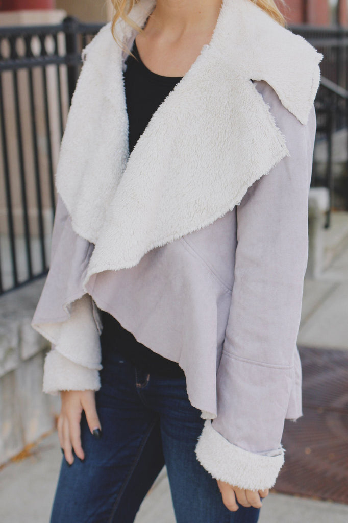 Taupe Long Sleeve Faux Shearling Open Front Jacket