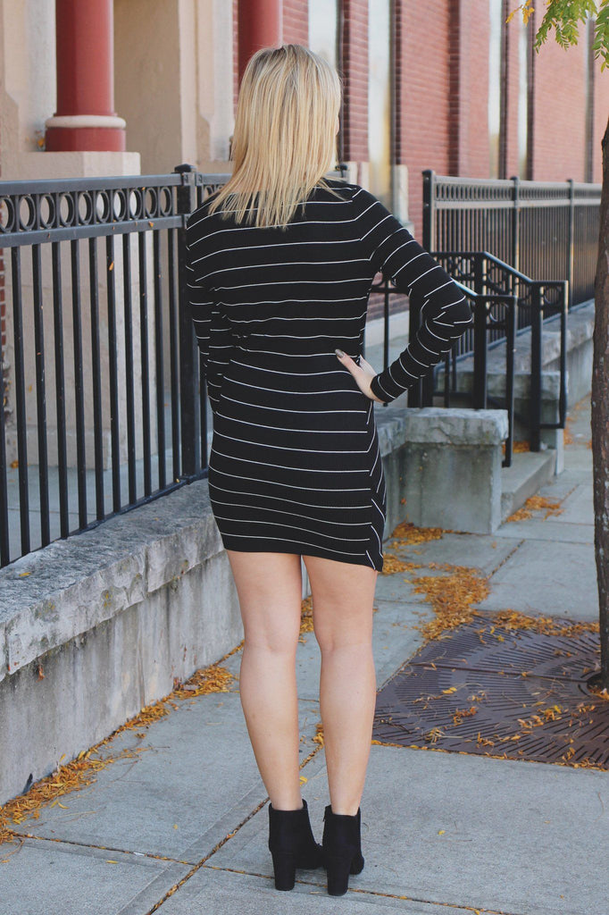 Black Long Sleeve Faux Wrap Ribbed Knit Bodycon Dress