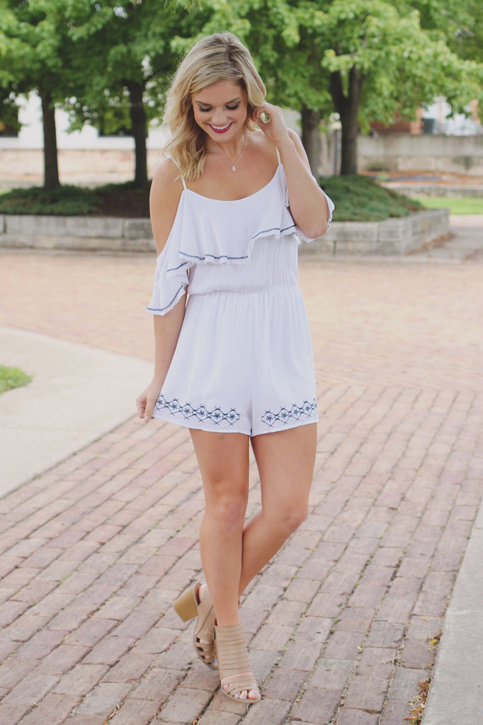 Off the Shoulder Embroidery Detail Flounce Layer Romper