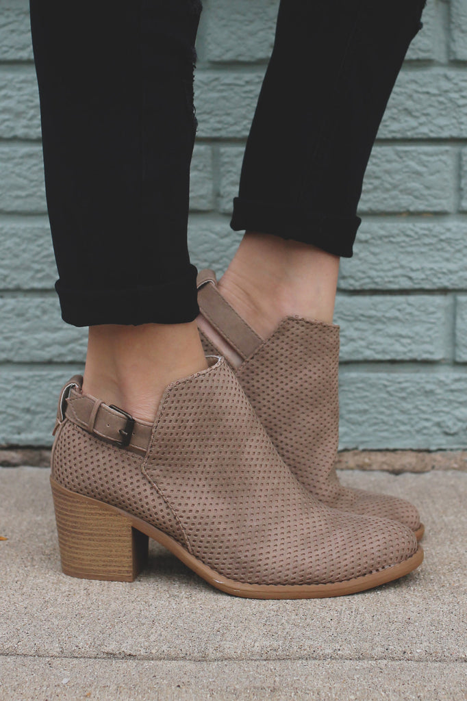 Taupe Faux Suede Almond Toe Ankle Booties Tobin-45