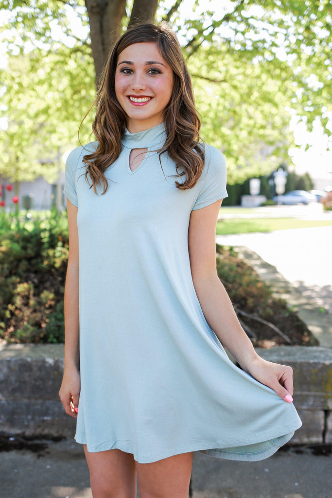 Short Sleeve Mock Neck Cut Out Trapeze Dress