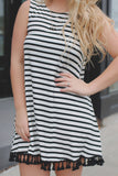 Sleeveless Striped Round Neck Tassel Hem Trapeze Dress