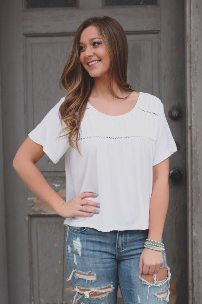 Ivory High-low Hem Perforated Accent Top